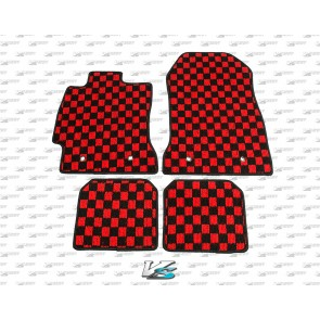 Scion FR-S / Subaru BRZ Checkered Floor Mats - RED/BLACK